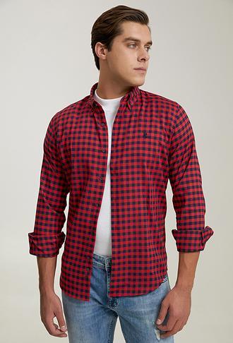 Ds Damat Slim Fit Kırmızı Ekoseli Gömlek - 6725695042305   D'S Damat