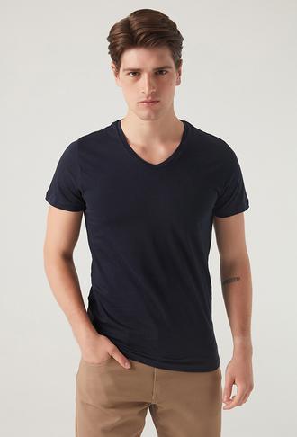 Ds Damat Slim Fit Lacivert T-shirt - 8682060252074   D'S Damat