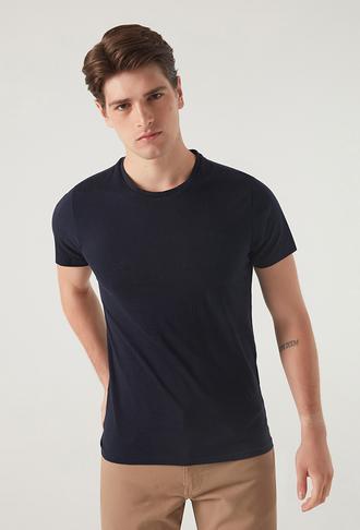 Ds Damat Slim Fit Lacivert T-shirt - 8682060252289   D'S Damat