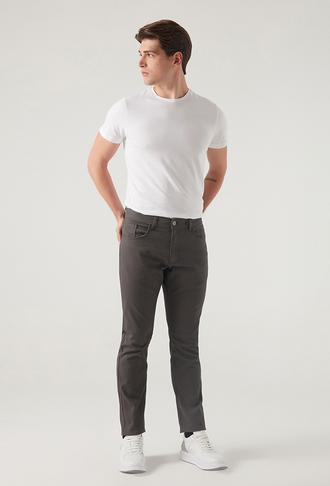 Twn Slim Fit Gri Armürlü Chino Pantolon - 8682445501261 | D'S Damat