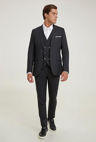 Twn Slim Fit Siyah Düz Yelekli Takım Elbise - 8682445598056 | D'S Damat
