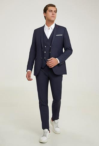 Twn Slim Fit Lacivert Düz Yelekli Takım Elbise - 8682445598193 | D'S Damat