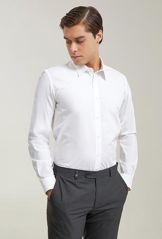 Tween Slim Fit Beyaz Düz Gömlek - 8682365042813 | Damat Tween