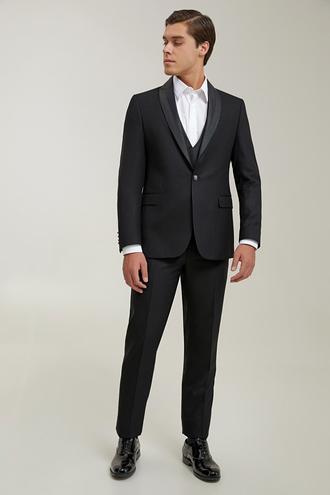 Ds Damat Slim Fit Siyah Armürlü Smokin Yelekli Takım Elbise - 8682445520781 | D'S Damat