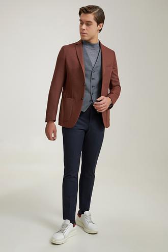 Twn Slim Fit Camel Armürlü Kombinli Takım Elbise - 8682445529159 | D'S Damat