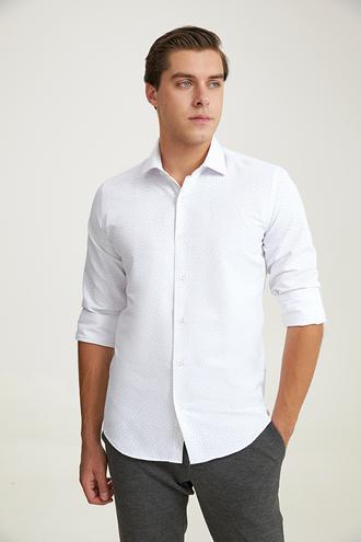 Ds Damat Slim Fit Beyaz Baskılı Gömlek - 8682445569254   D'S Damat