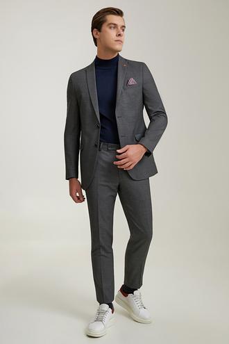 Twn Slim Fit Antrasit Armürlü Takım Elbise - 8682445621082 | D'S Damat