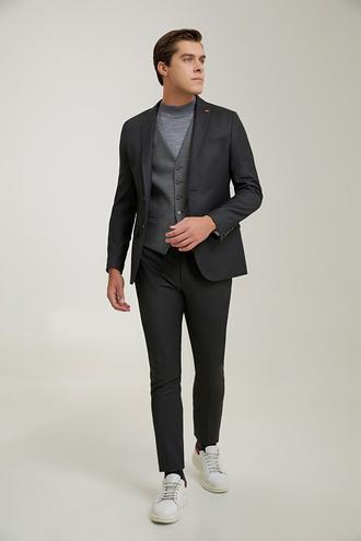 Twn Slim Fit Siyah Armürlü Kombinli Takım Elbise - 8682445625448 | D'S Damat