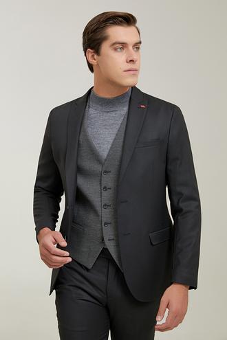 Twn Slim Fit Siyah Armürlü Kombinli Takım Elbise - 8682445625332   D'S Damat