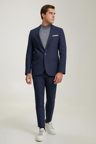 Twn Slim Fit Lacivert Armürlü Takım Elbise - 8682445699173 | D'S Damat