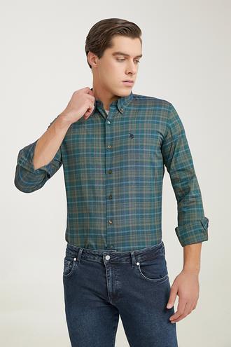 Ds Damat Slim Fit Yeşil Ekoseli Gömlek - 6725695041858   D'S Damat