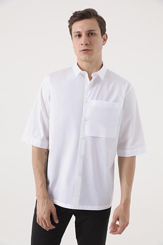 Tween Oversize Beyaz Düz Gömlek - 8682364657483 | Damat Tween